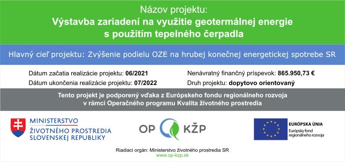 Banner projektu Výstavba zariadení na využitie geotermálnej energie